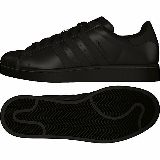 ADIDAS SUPERSTAR FOUNDATION CORE BLACK MENS 11.5 LOW BASKETBALL TENNIS SHOES NEW