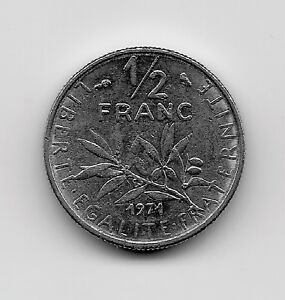 World-Coins-France-1-2-Franc-1971-Coin-KM-931-1-Lot-F2