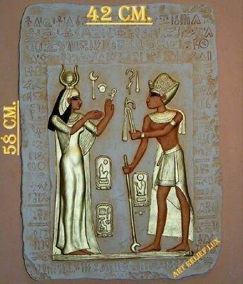 2 x RELIEF LUX ALTES ÄGYPTEN ÄGYPTISCHE SKULPTUR STUCK GIPS WANDRELIEF BILD