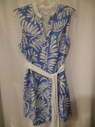 Island Company Tanzania Blue White Linen Dress XL