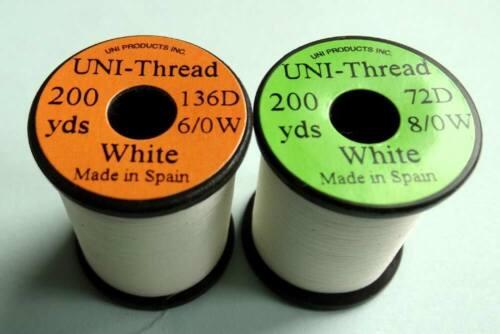 1 x 200 yards UNI Fil montage BLANC  6-0//8-0 peche thread moscas bobina white