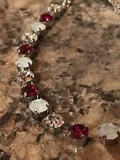 Fun Size Necklace Choker ❤ Red Ruby, White Opal With Swarovski Crystals Silver