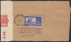 INDIA-1941-Censor-Cover-157-Mount-Road-New-York