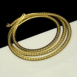 KOREA-Vintage-Chain-Necklace-Long-Gold-Plated-Thick-Interlocking-Links-Classy