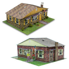 1:87 Scale Sandstone & Brick Rambler Houses Photo Real Scale Building Models