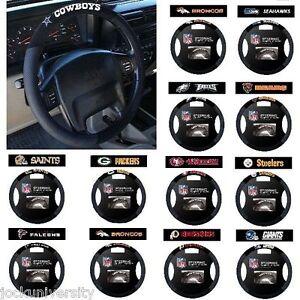 NFL-Teams-Black-Poly-Suede-amp-Mesh-Steering-Wheel-Cover