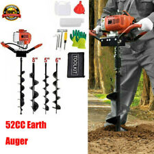 Upgrade 52ccgas Powered Auger Post Hole Digger With3 Drill Bits Fast Shipping