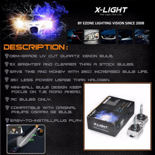 2x D3S Genuine X-LIGHT XENON NEW BULB compatible with 66340 9285304244 UPT 8000K