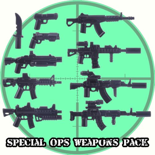 Machine Guns for Lego minifigs Custom Special Ops Weapons Pack Assault Rifles