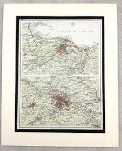 1899-Antique-Map-of-Scotland-Edinburgh-Glasgow-Scottish-19th-Century-Original