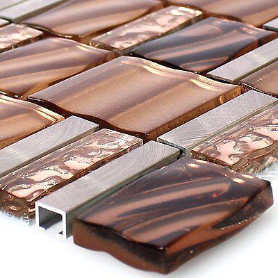 MUSTER Glas Aluminium Mosaik Kupfer Braun Mix Bad Küchen Dusch Badmosaik