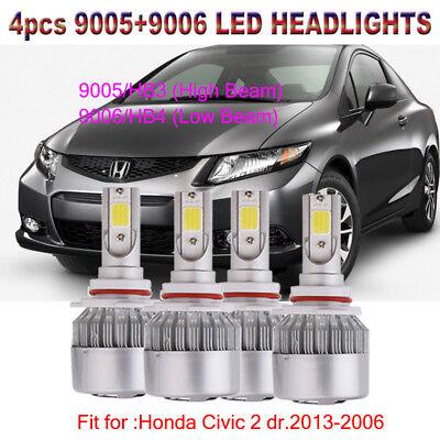 9005 HB3 9006 HB4 Front LED Headlight Kit For Honda Civic 2 dr 2013-2006 Hi//Low
