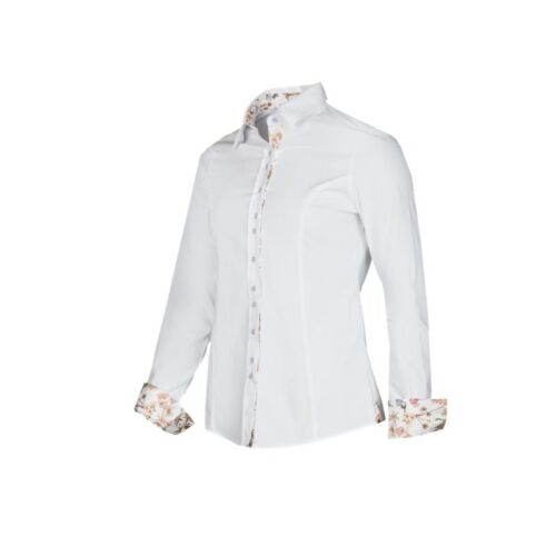 Baleno Clothing Mary Shirt in WhiteLadies Fitted ShirtFlower Cuffs