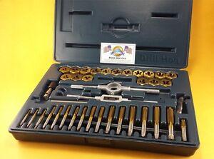Drill-Hog-40-Pc-Tap-amp-Die-Set-SAE-Tap-Rethreading-Titanium-Lifetime-Warranty