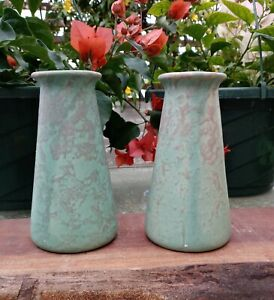 Pair of Beautiful Brush Pottery Matte Green Vellum Arts & Crafts Bud Vases EXC