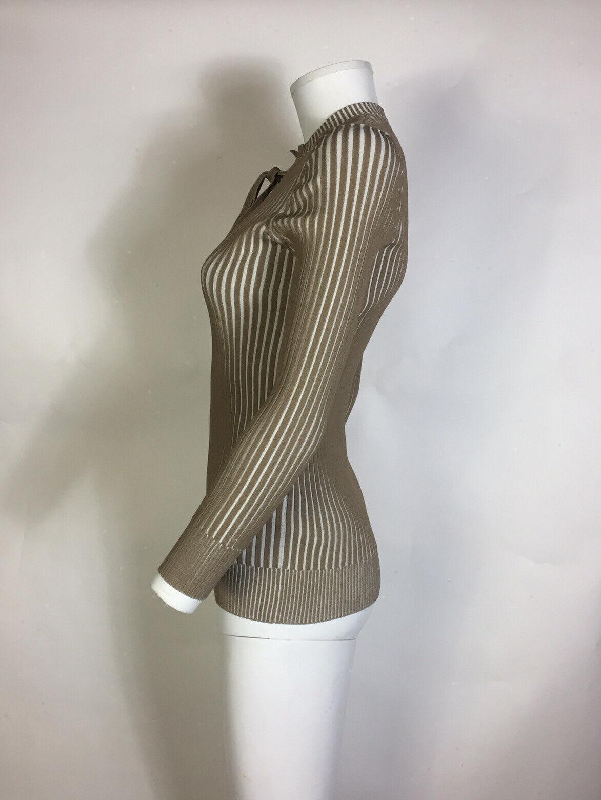 Rare Vtg Gucci Beige Knit Lace Up Top M - image 4