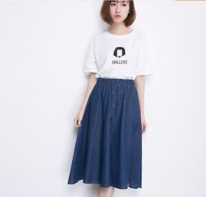 14ccd8f49 Summer Trends Korean Style Long Maxi A-line High Waist Women Denim ...