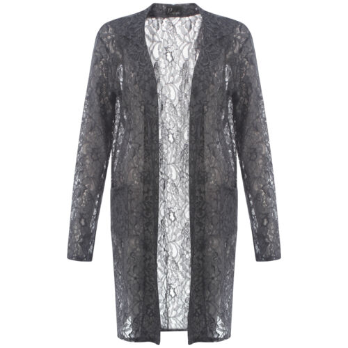 Womens Long Lace Duster Coat Ladies Floral Long Open Front Slip On Blazer Jacket