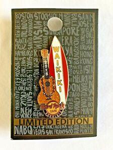 HONOLULU-HAWAII-GOLD-GLITTER-UKULELE-WAIKIKI-SURFBOARD-HARD-ROCK-CAFE-PIN