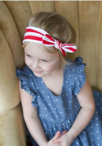 Baby Kids Toddler Girls Stretch Big Bow Knot Turban Hairband Stripe Headband