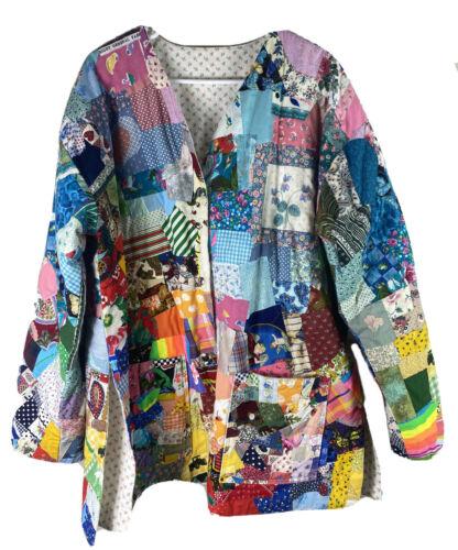 Upcycled Handmade OOAK ART Patchwork Quilt Coat Sn