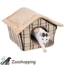 Nicchia cuccia morbida casetta cuscino per gatti e cani tartan beige