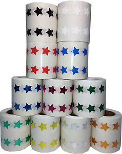 Star-Stickers-1-2-Inch-Wide-Labels-1000-Stickers-on-a-Roll-14-Color-Choices