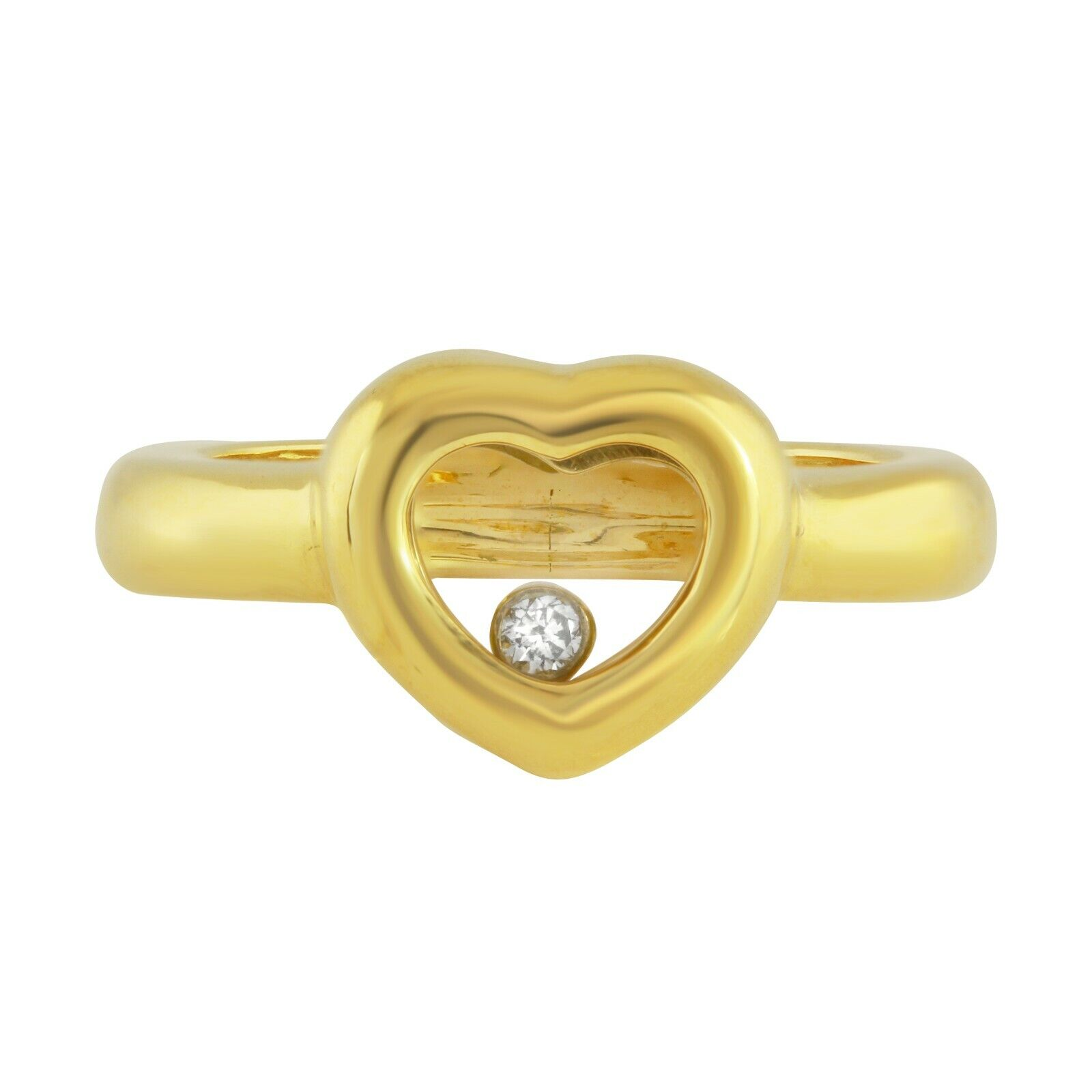 18k Yellow gold Heart Shape Ring with Moving Diamond Size 6.5, 8.3 grams