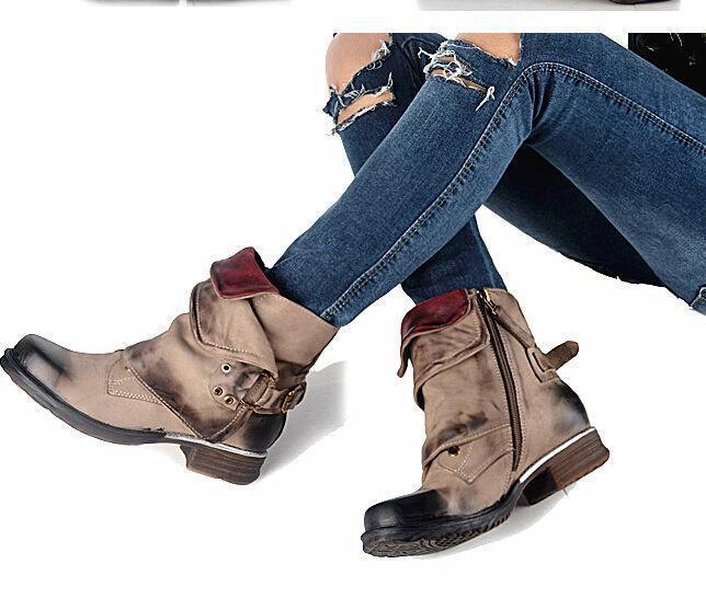 Punk Fashion donna Retro Genuine Leather Buckle Combat Riding Ankle stivali G51