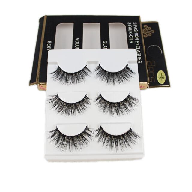 3 Pairs Make Up 3D Natural Soft Handmade Thick Long Cross False Fake Eyelashes