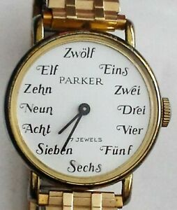 Rare-Vintage-Lady-Parker-Swiss-17-J-Mechanical-Wind-Watch-German-Hour-Markers