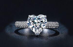 Donna-Design-Cuore-Anello-925-Argentato-Cristallo-Anello-di-Fidanzamento