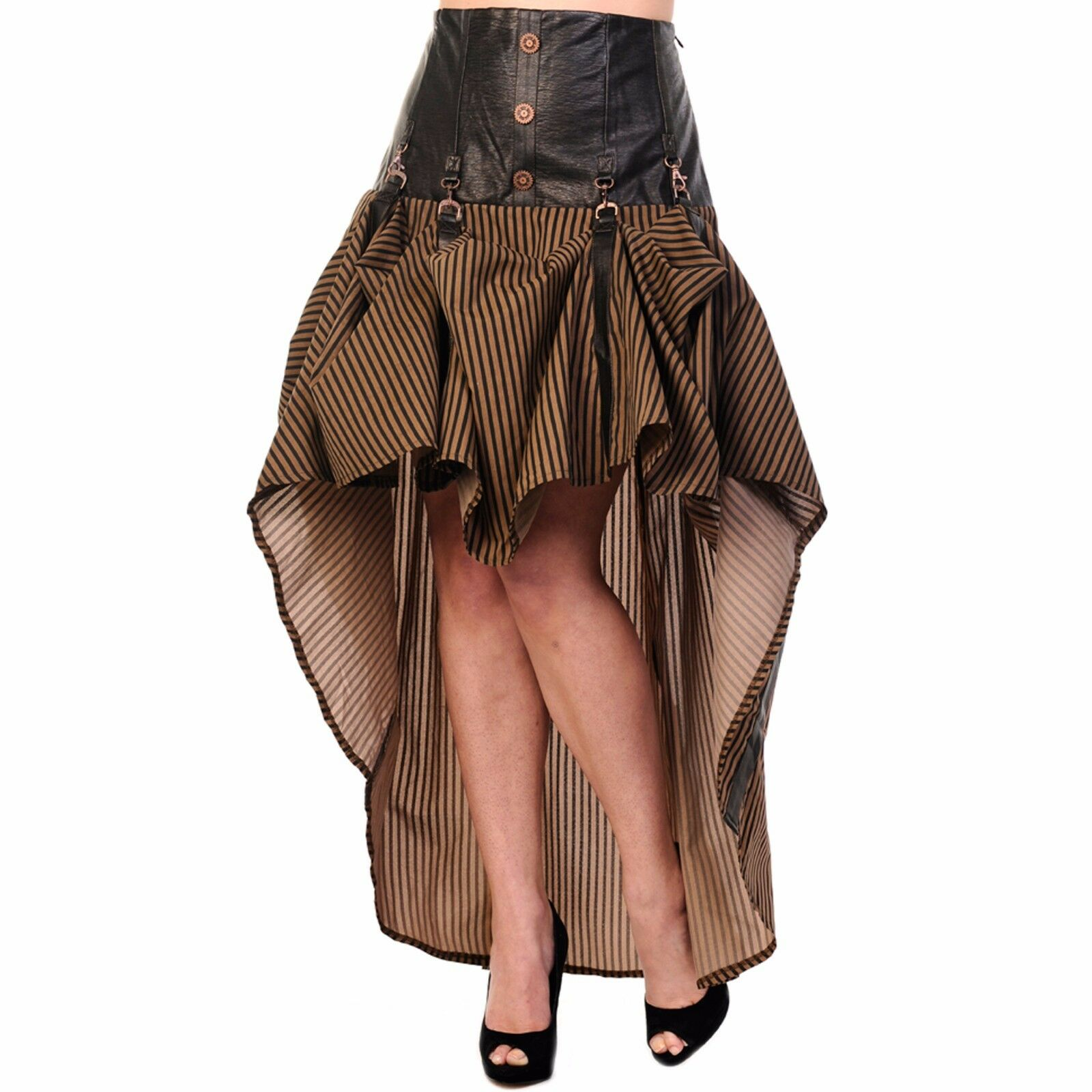 Crank It Up Steampunk Skirt - Waterfall Brown Striped Victorian Gothic Skirt