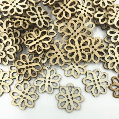 Bricolage Bois Naturel Couleur Fleurs 4 Trous Couture Scrapbooking En bois Boutons 20 mm