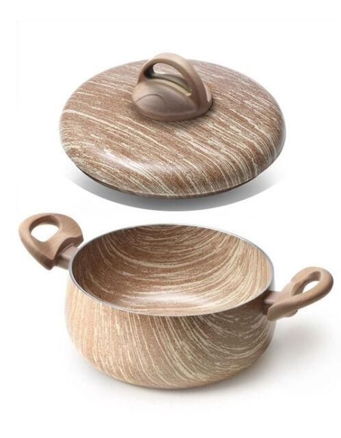 Casseruola con coperchio arborea 16 cm effetto legno antiaderente 2 manici new