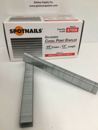 "SPOTNAIL 87008  71 Upholstery staples 3//8/"" crown 1//2/"" leg,sale by 12 boxes//ctn"