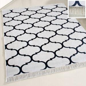 Details zu Waschbarer Teppich Küche Kurzflor Marokkanisches Design Schwarz  Weiss meliert