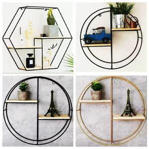Cube-Hexagonal-Wall-Shelf-Storage-Shelving-Gold-Metal-Frame-Display-Rack-Round
