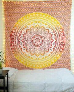 Gold Ombre Mandala Twin Überwurf Wandbehang Baumwolle Tapisserie Yoga Deko Tuch