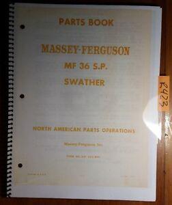 massey ferguson mf 36 mf36 s p swather parts book manual 651 262 rh ebay com