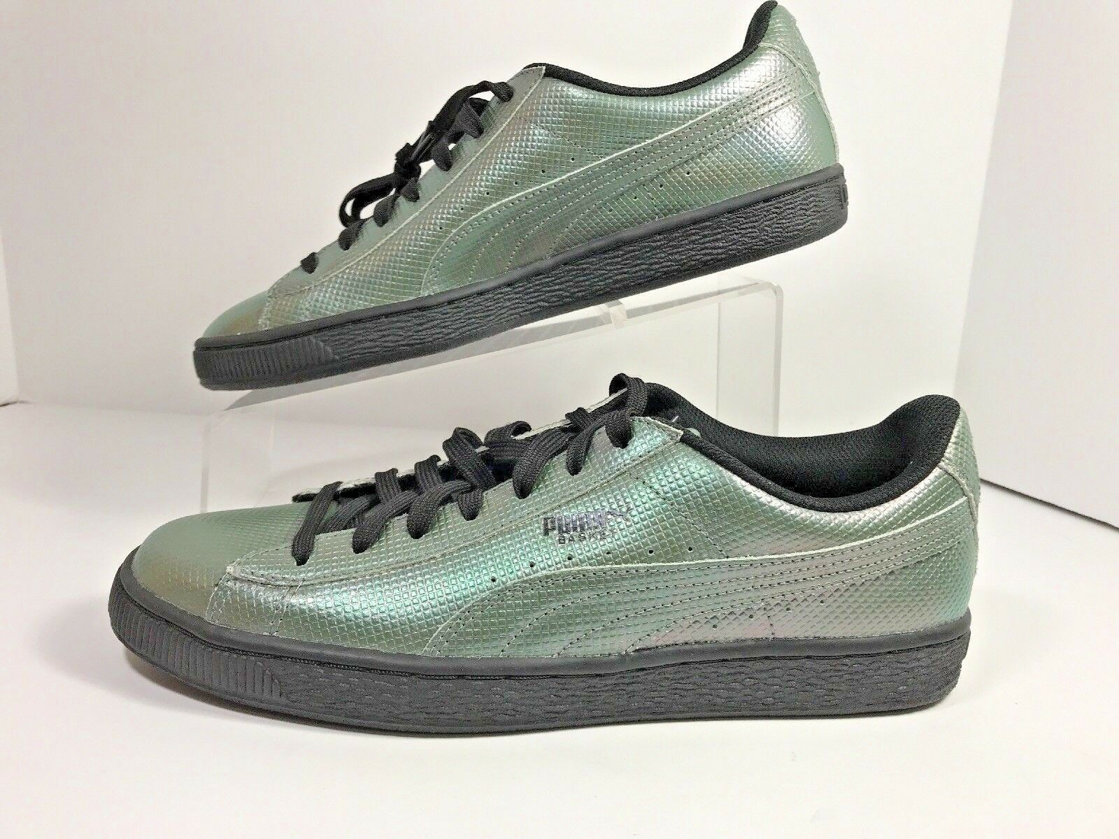 NEW With Out BOX Puma Basket Green Holographic Sneaker Mens Sz 7.5    182