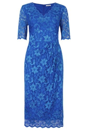 MARKS AND SPENCER TWIGGY ROYAL BLUE FLORAL ALL OVER LACE  DRESS SIZE 8 to 22