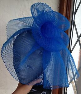 b8fc1439 Image is loading Blue-fascinator-millinery-burlesque-wedding-hat-hair-piece-