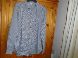 Mens-black-and-white-small-check-long-sleeve-lightweight-shirt-size-Medium