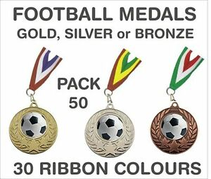PACK-OF-50-0-65p-each-Football-Medals-amp-Ribbon-Metal-50mm-Ref-GMM7050-MR1