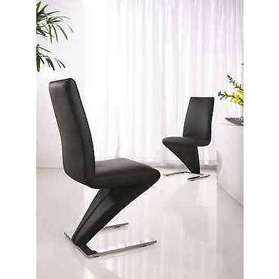 SET OF 2 DESIGNER LEATHER CHROME DINING Z CHAIRS (CHOICE OF FOUR COLOURS) IJ632