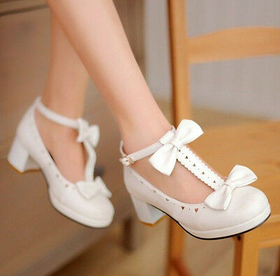 New Mary Jane Lolitas Sweet Bow Knot T-Strap Womens Heart Hole Plus Size Shoes