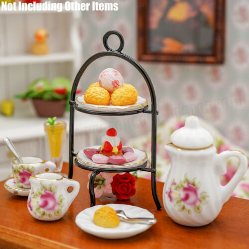 1//12 Torta a Strati STAND Dollhouse Miniature 2-Tier Display Rack Stand Torta Cucina