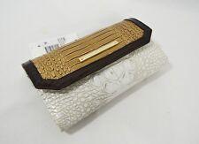 Brahmin Soft Checkbook Wallet Clutch Coconut Kedima Embossed Leather
