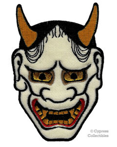 Details about JAPANESE HANNYA MASK EMBROIDERED PATCH iron-on KABUKI DEMON  ONI NOH DEVIL JAPAN